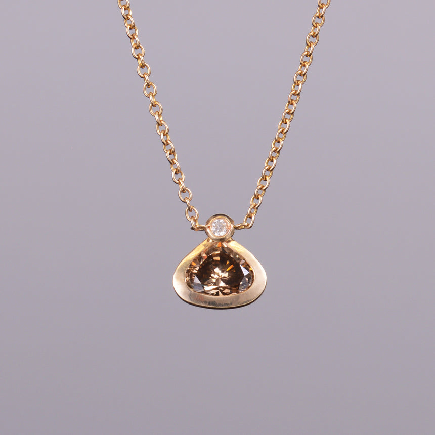 Cognac Diamond Pendant with White Diamond Chain