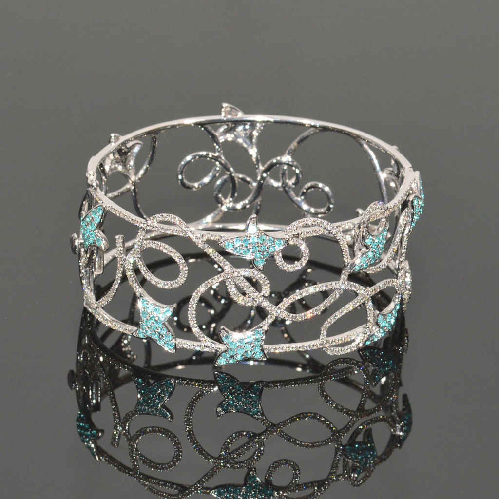 Paraiba Tourmaline and Diamond Vines Bracelet