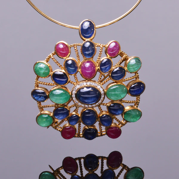 Tutti Frutti Antique Pendant (Estate)