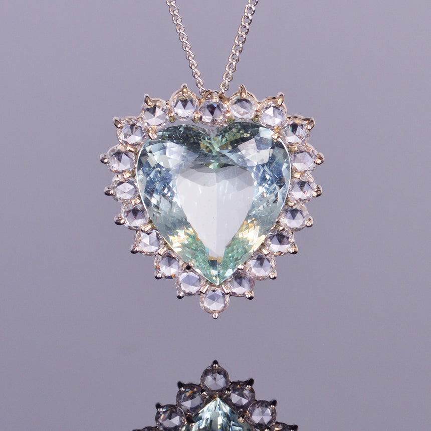Green Beryl Heart Pendant with White Sapphire Halo