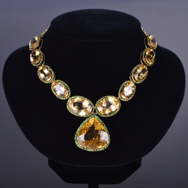 Yellow Beryl and Tsavorite Garnet Necklace