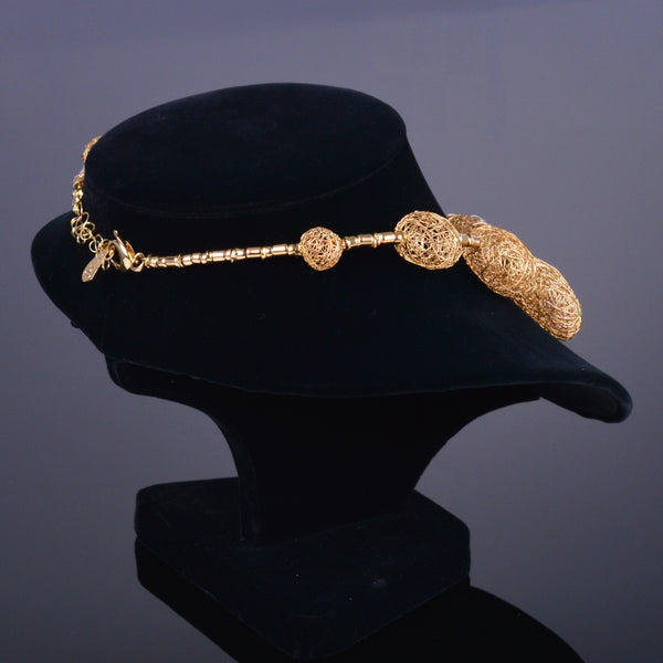 Italian Handmade 18k Gold Sphere Necklace with Diamonds
