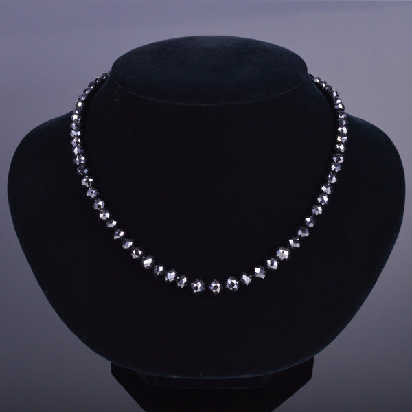black diamond bead necklace with 14k white gold diamond clasp
