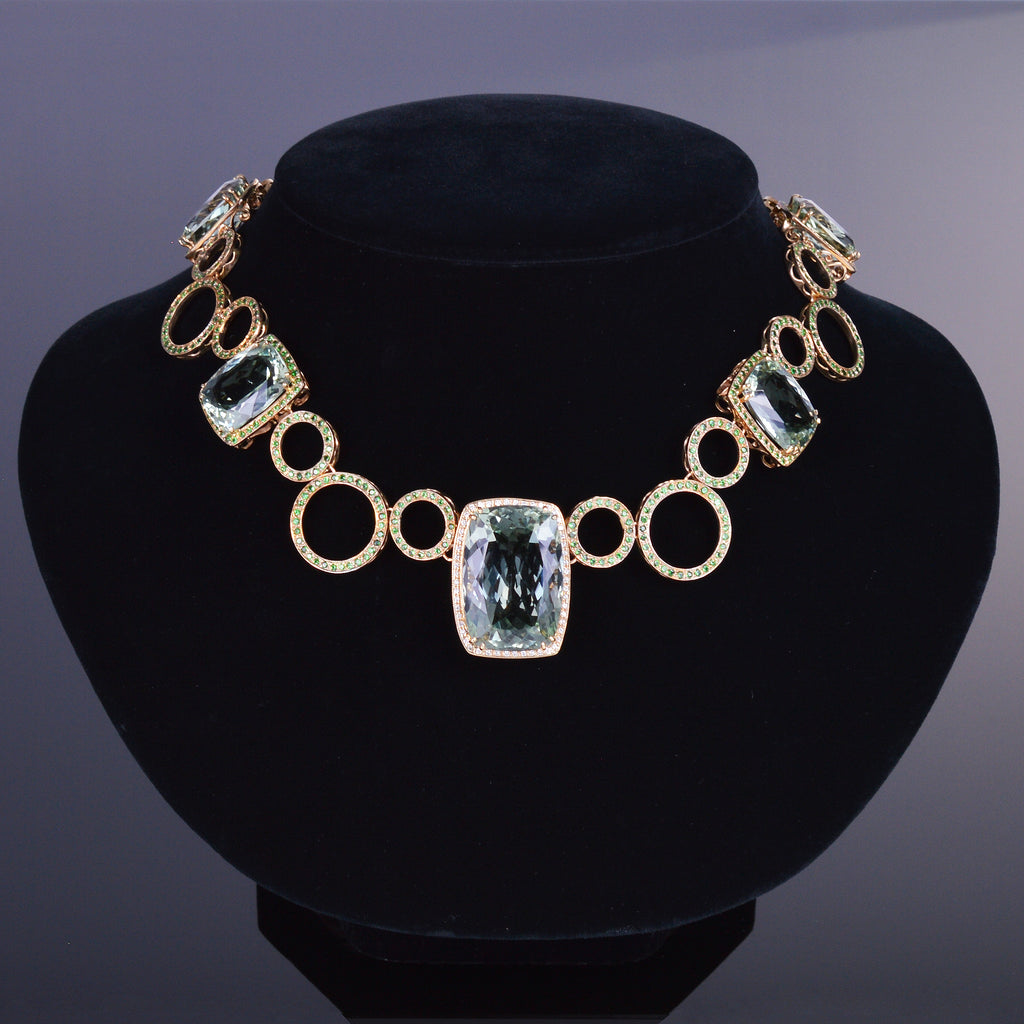 Green Amethyst, Tsavorite Garnet, and Diamond Necklace