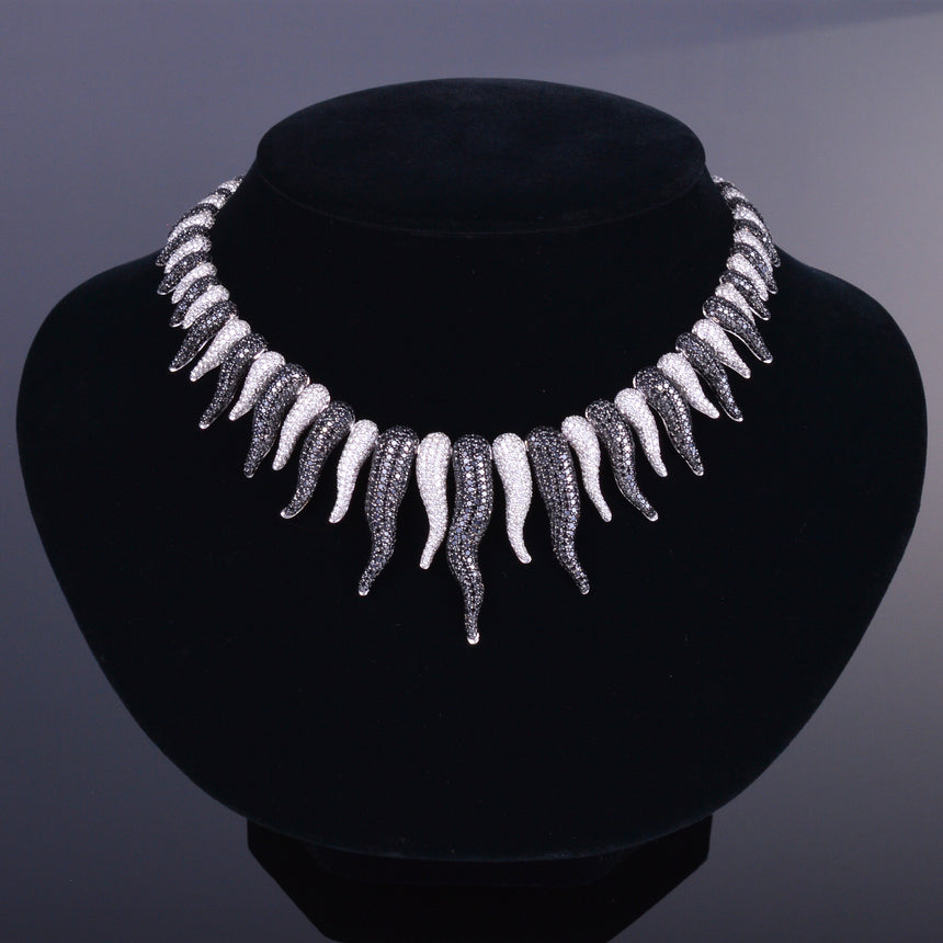 Black and White Diamond Cornicello Necklace