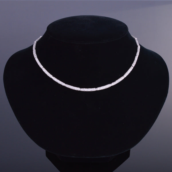 Diamond Cut White Sapphire Pave Necklace