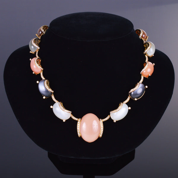 Mixed Moonstone and Diamond Necklace (Estate)
