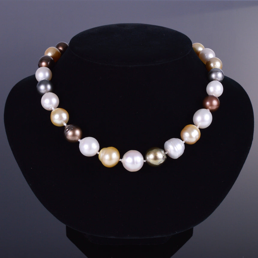 Mixed Pearl Necklace with Diamond Bale