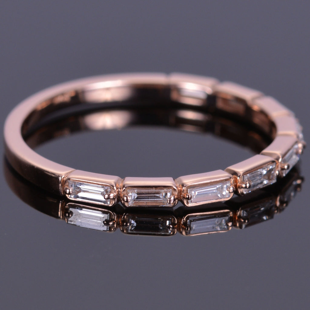 Stackable Diamond Baguette Rose Gold Band