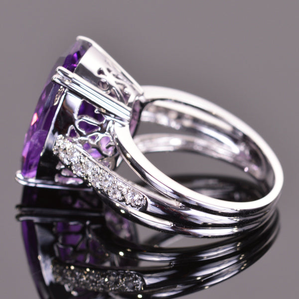 Oval Amethyst and White Sapphire Ring