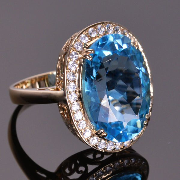 Blue Topaz and White Sapphire Cocktail Ring Set in 14kt Yellow Gold