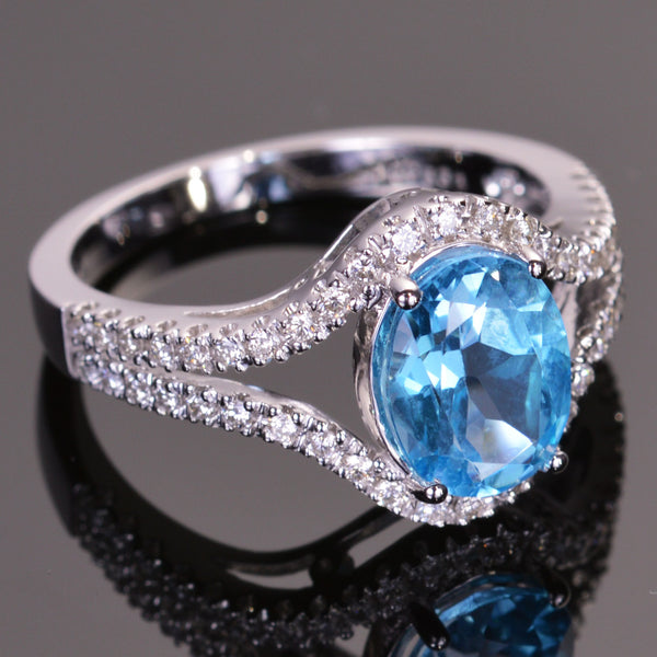 Blue Topaz and White Diamond Cocktail Ring