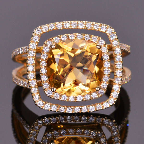 Golden Citrine and White Diamond Double Halo Ring