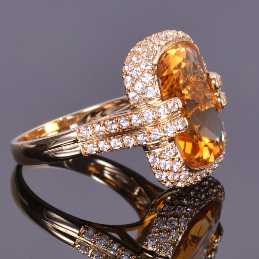 Golden Citrine Cushion Royale Ring