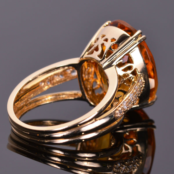 Oval Golden Citrine and White Sapphire Ring