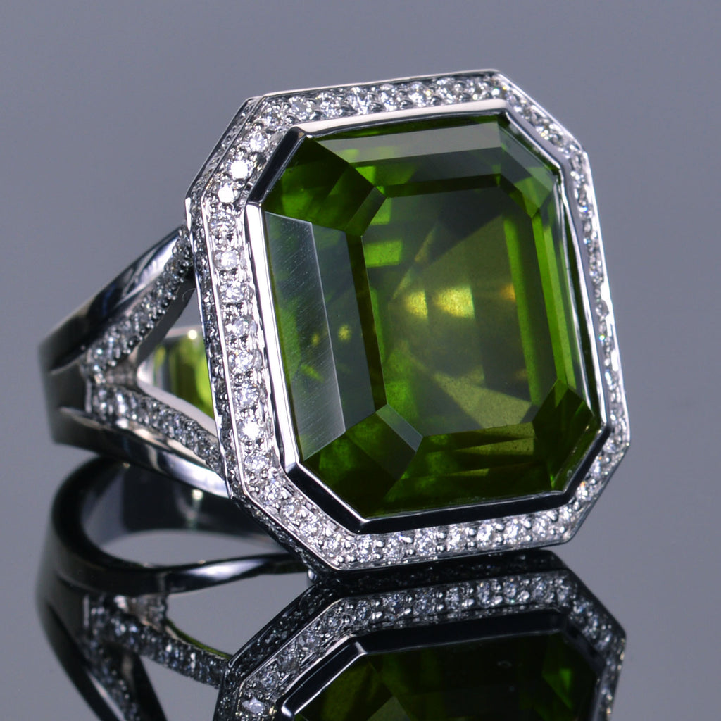 LXV 43.81 Carat Peridot and Diamond Leo Ring