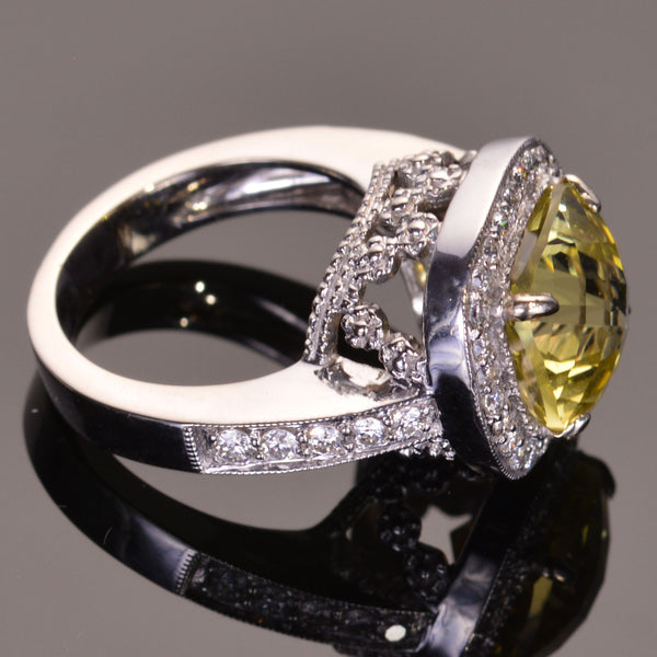 Lemon Topaz Diamond Girl Ring in 14k White Gold
