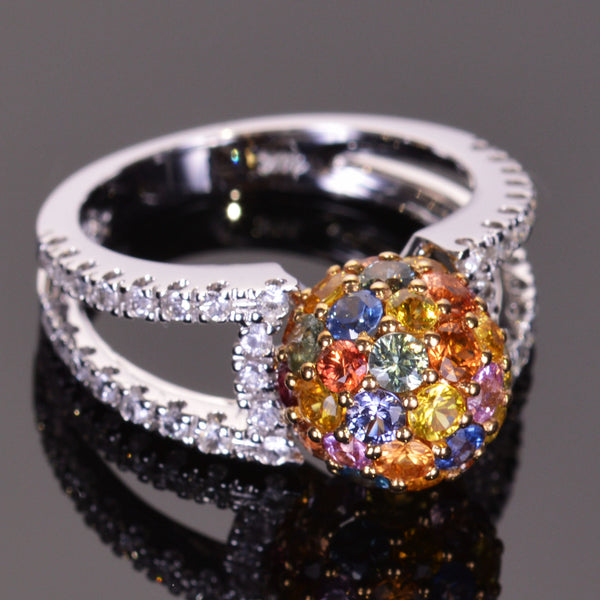 Multicolored Sapphire Sphere Ring