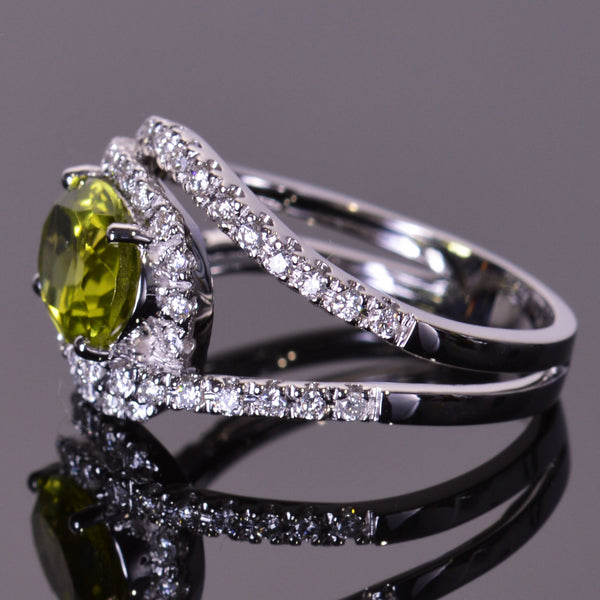 Peridot Diamond Infinity Ring