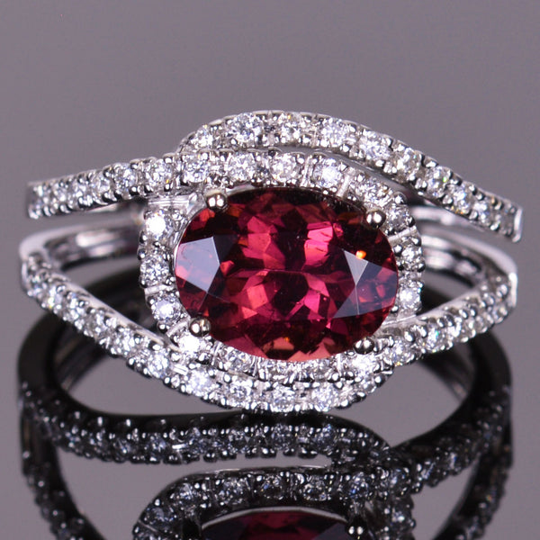 Pink Tourmaline Diamond Infinity Ring