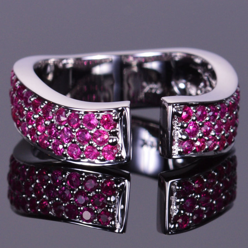 Ruby Finger Cuff Band in White Gold