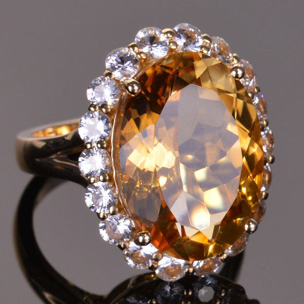 Golden Citrine and White Sapphire Masterpiece Collection Ring