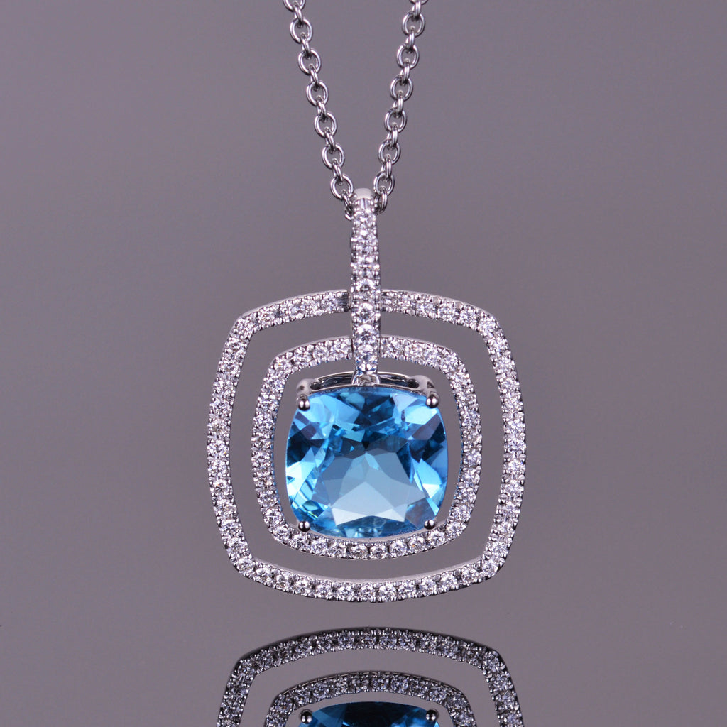 Blue Topaz and White Diamond Double Halo Pendant