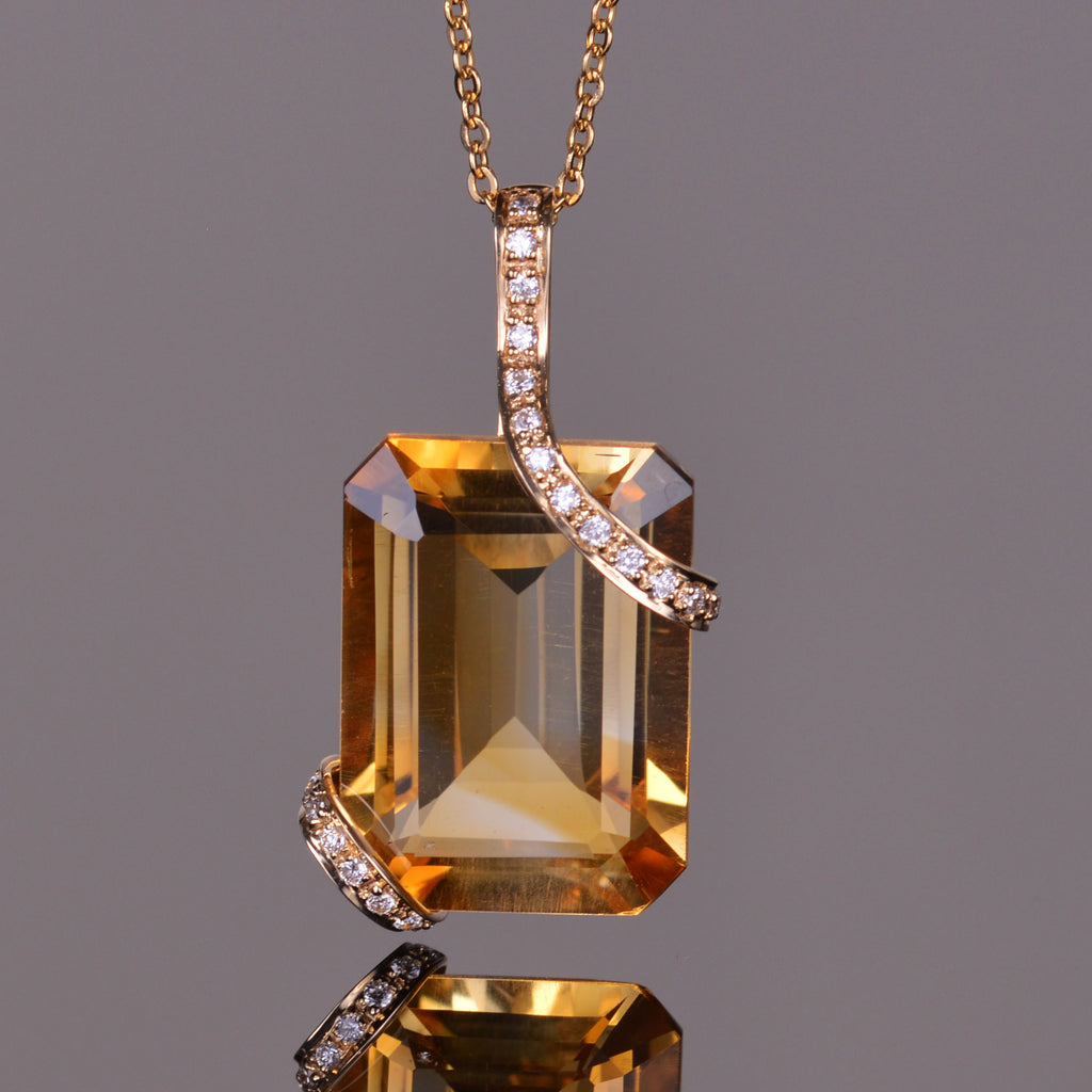 Golden Citrine and White Diamond Cache Pendant