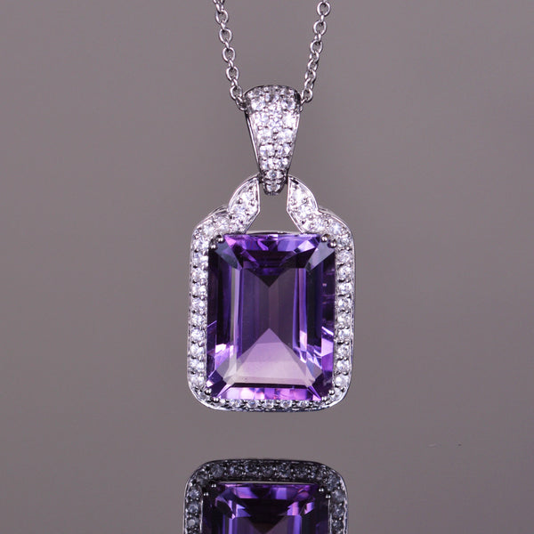 Amethyst and White Sapphire Majesty Pendant