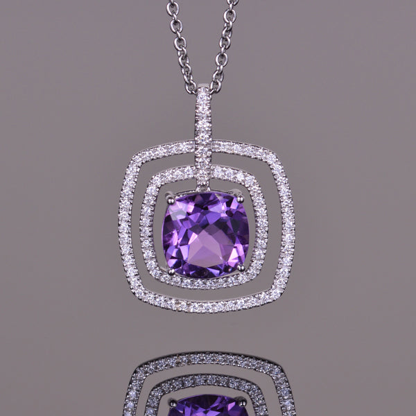 Amethyst and Diamond Double Halo Pendant
