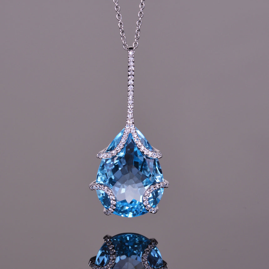 Blue Topaz Contessa Pear Pendant