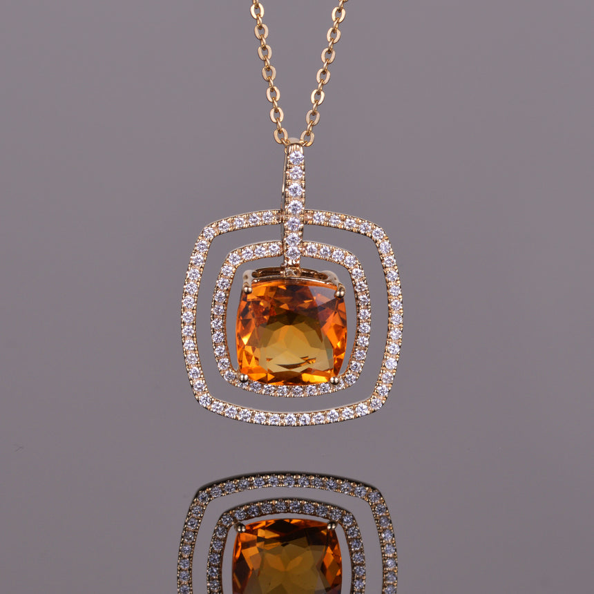 Citrine and Diamond Double Halo Pendant