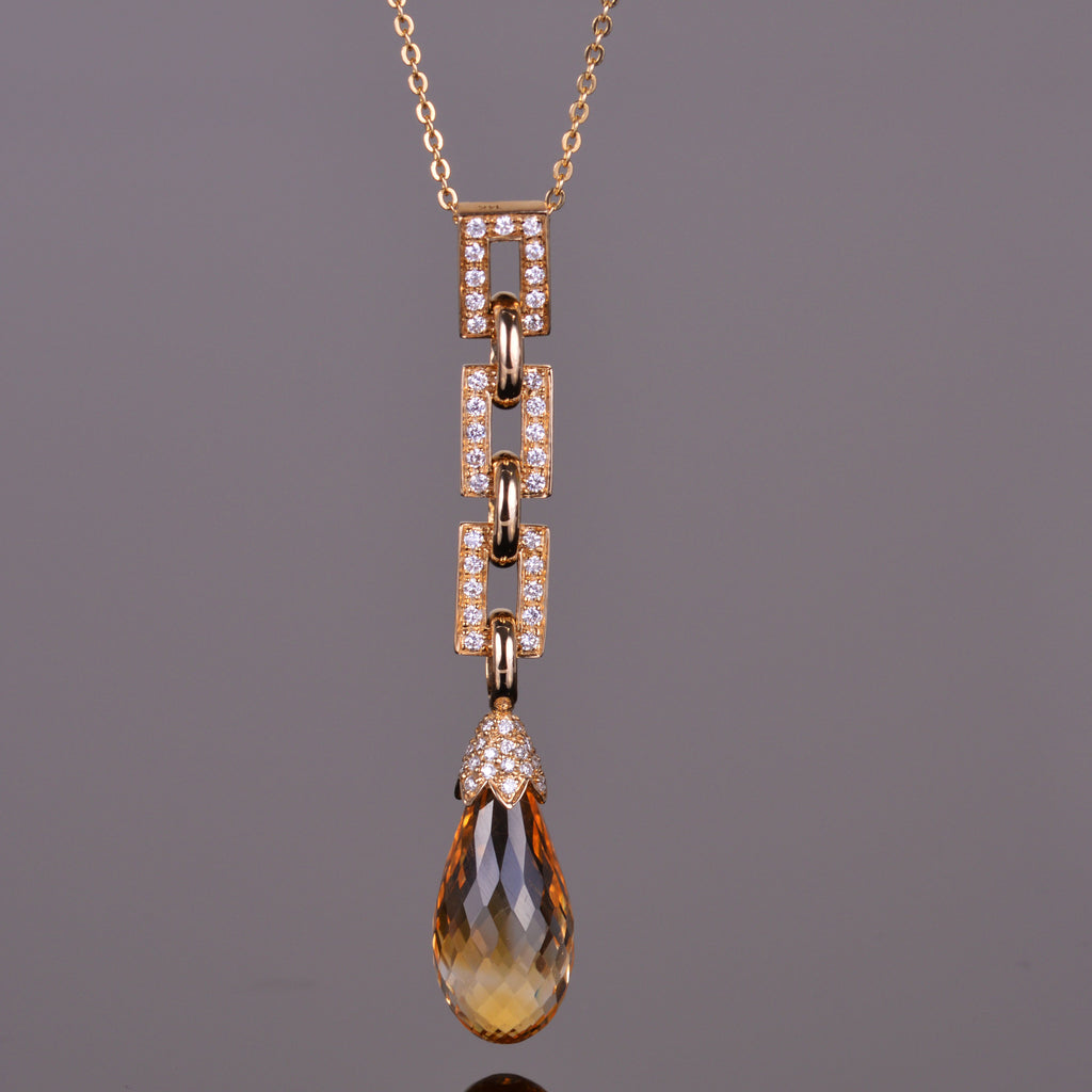 Golden Citrine and White Diamond Briolette Pendant