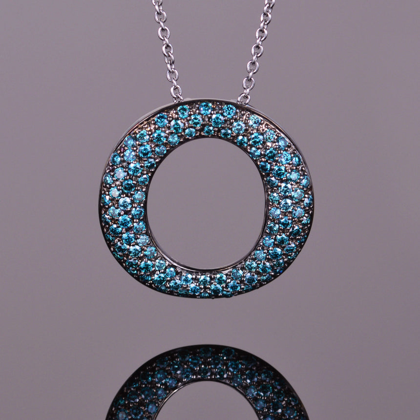 Blue Diamond and Black Rhodium Perpetual Light Pendant