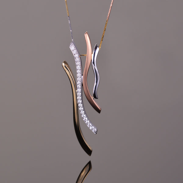 Three Tone Gold and Diamond Mirage Pendant
