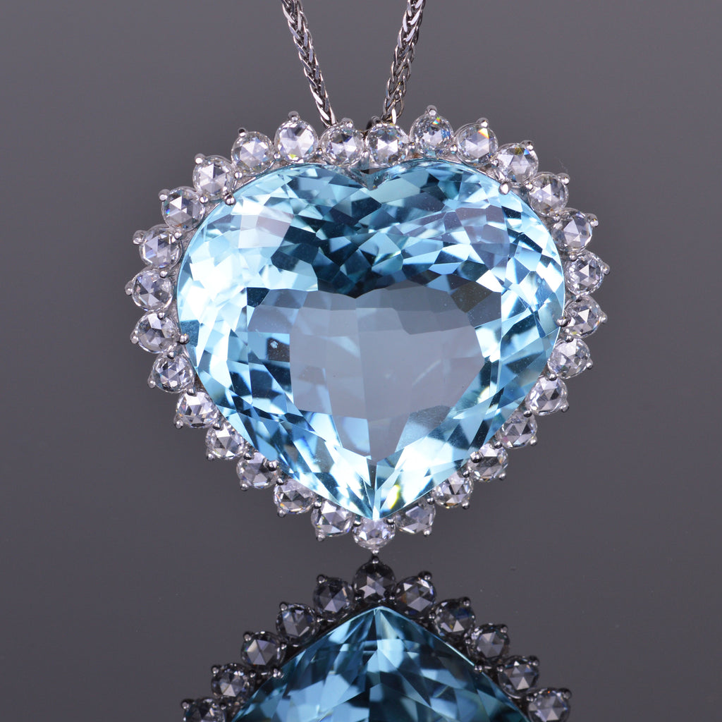 Heart Aquamarine and Diamond Pendant