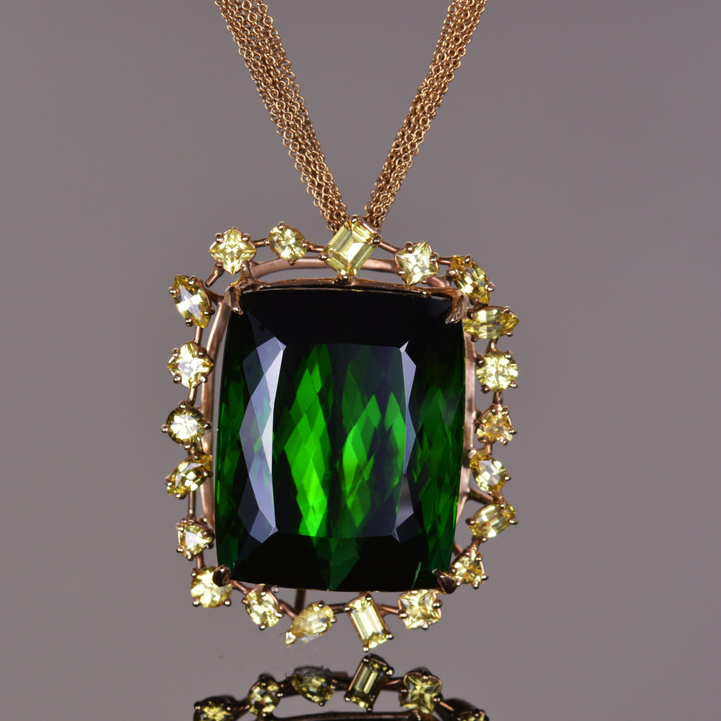 Green Tourmaline and Yellow Sapphire Pendant