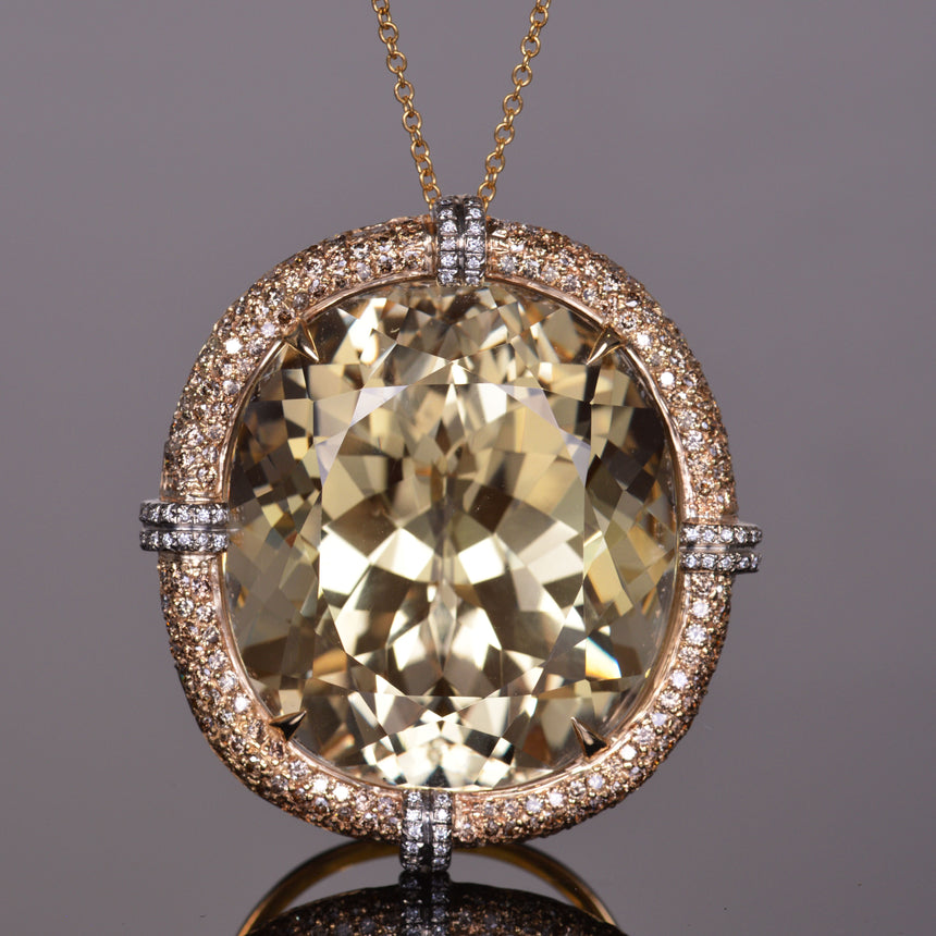 Golden Kunzite and Diamond Pendant