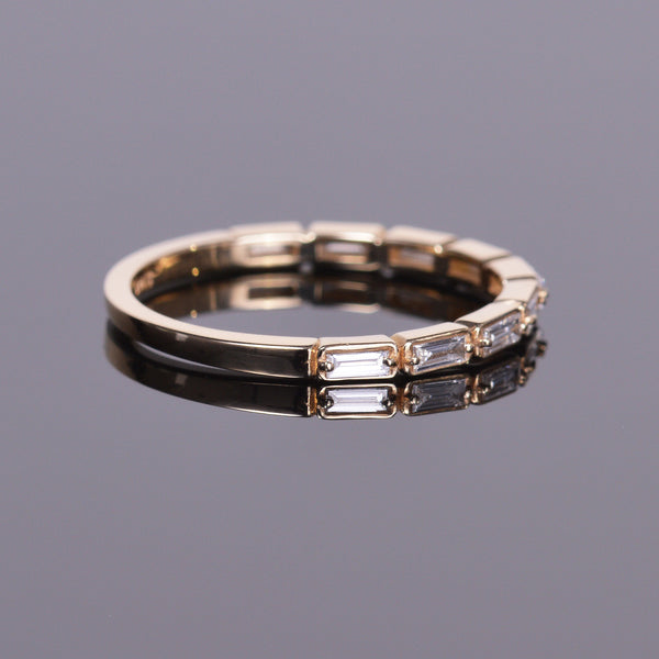 Stackable Diamond Baguette Yellow Gold Band