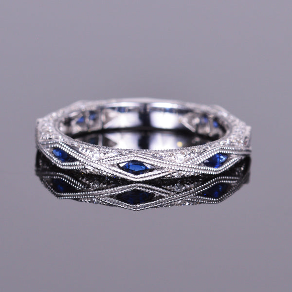 Diamond and Sapphire Stackable Band