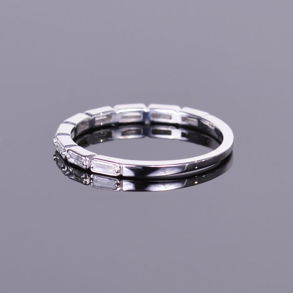 Stackable Diamond Baguette White Gold Band