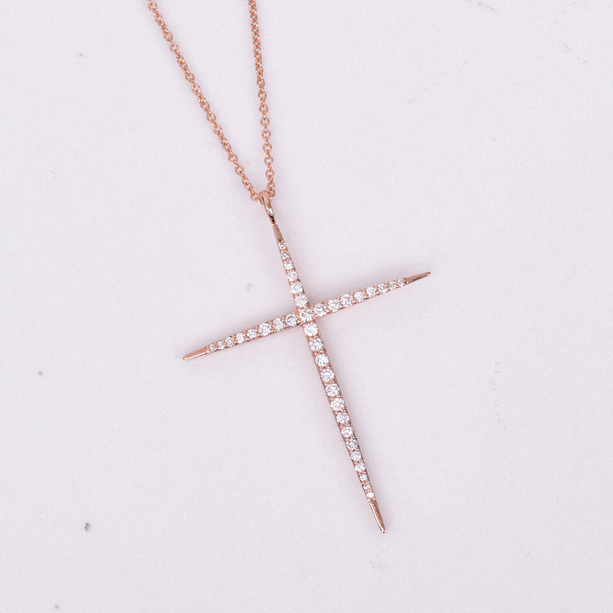 diamond rose gold cross pendant