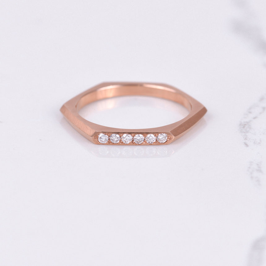 Diamond Hexagon Band in Rose Gold
