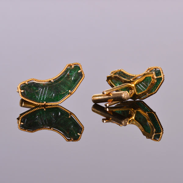 LXV Emerald and 18k Yellow Gold Cuff Links