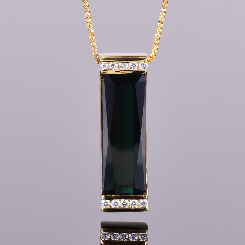 Elongated Green Tourmaline and Diamond Pendant