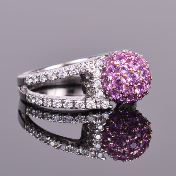 Pink Sapphire and Diamond Sphere Ring