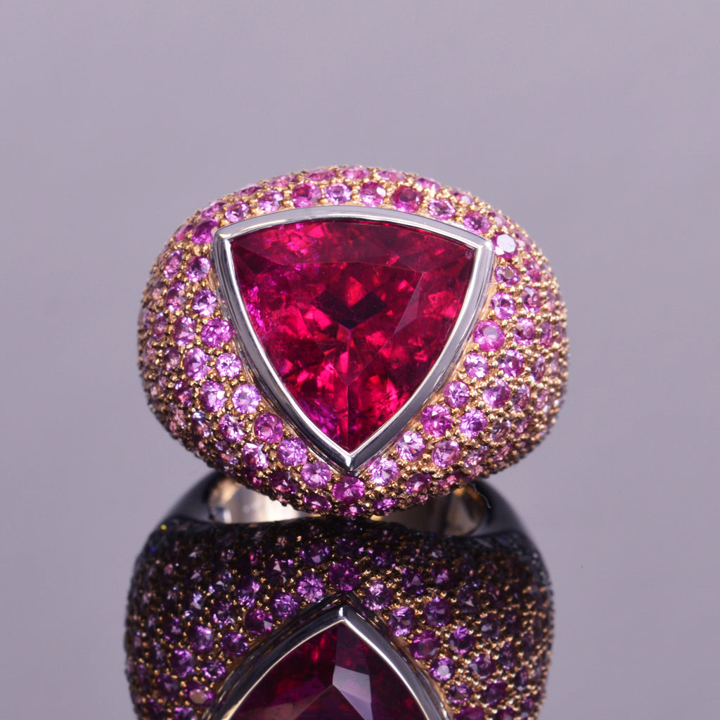 5e0999bc55682 Rubellite cocktail ring with Diamond & Pink Sapphire Ombre