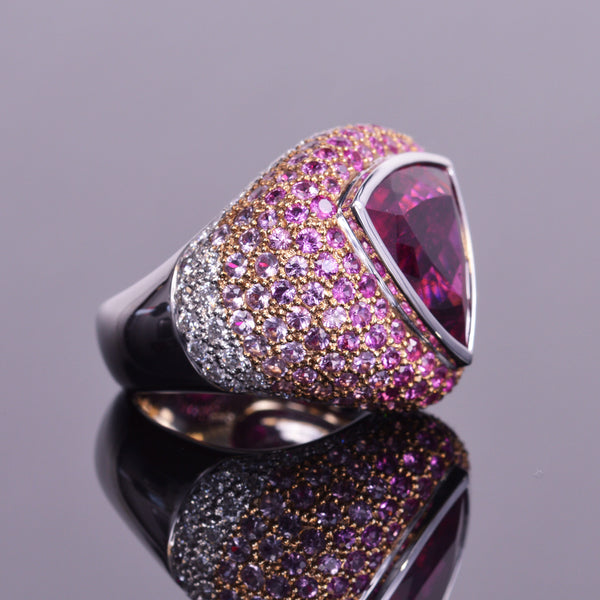 Rubellite cocktail ring with Diamond & Pink Sapphire Ombre