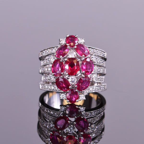 Ruby and Diamond Multiple Band Ring in 18k White Gold