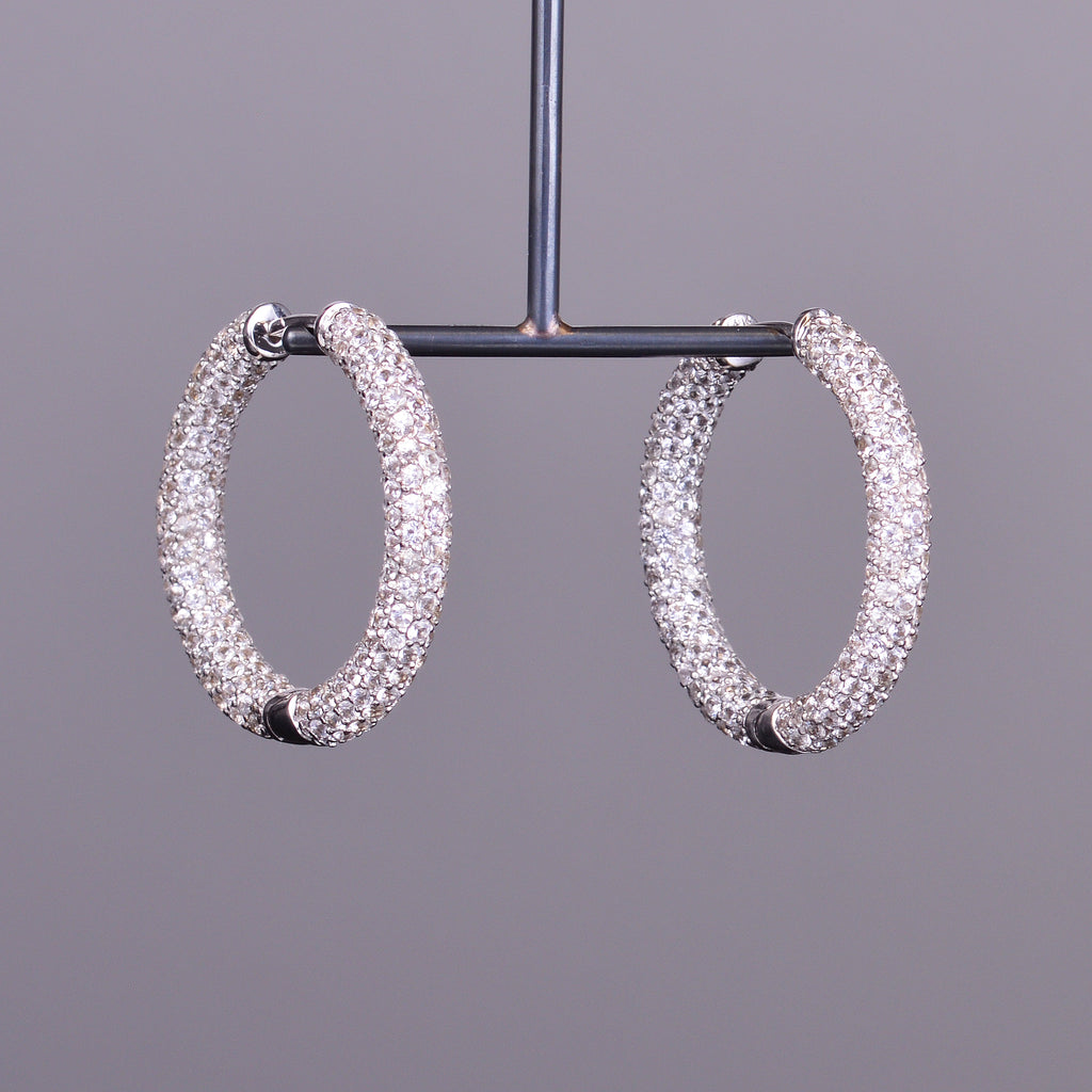 White Sapphire Pave Hoops